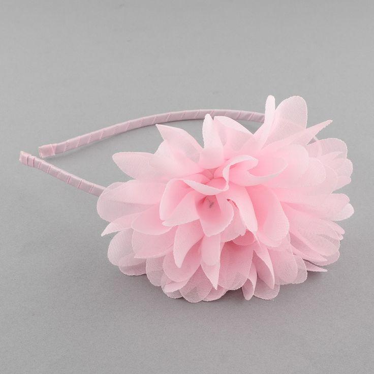 Serre tête à grosse fleur froufrou rose tendre, idéal