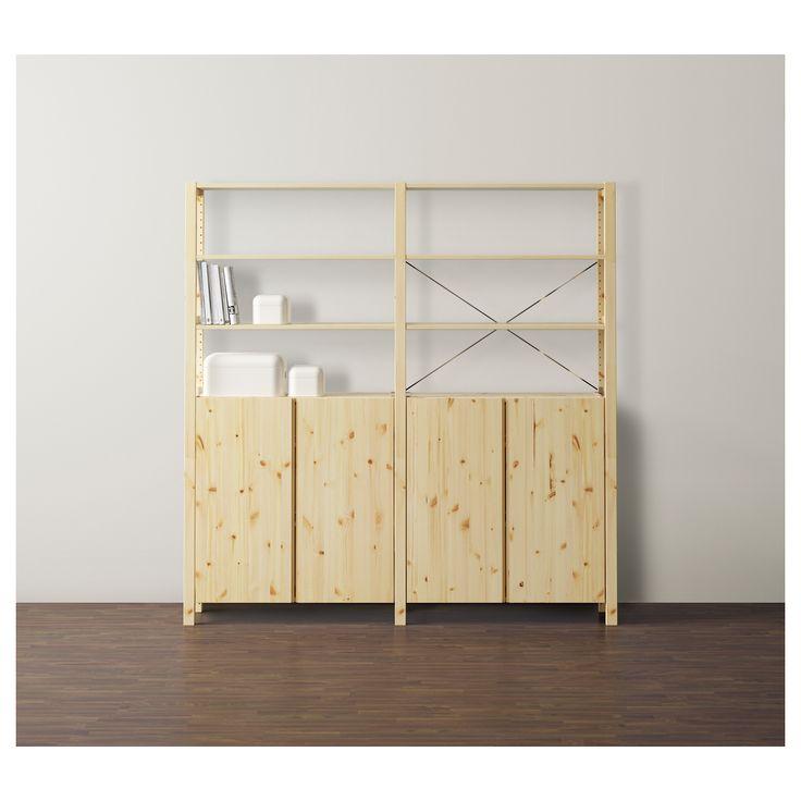 "IVAR 2 section shelving unit w/cabinet - 68 1/2x11 3/4x70 1/2 "" - IKEA"