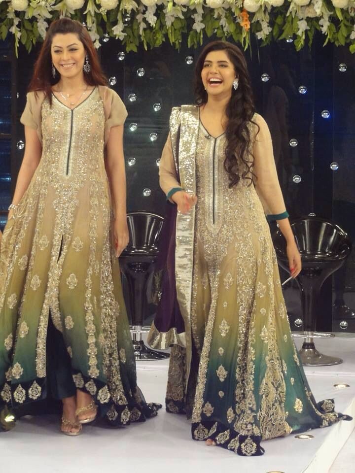 Pakistani Dress Gold An Green Chiffon Hsy Wedding