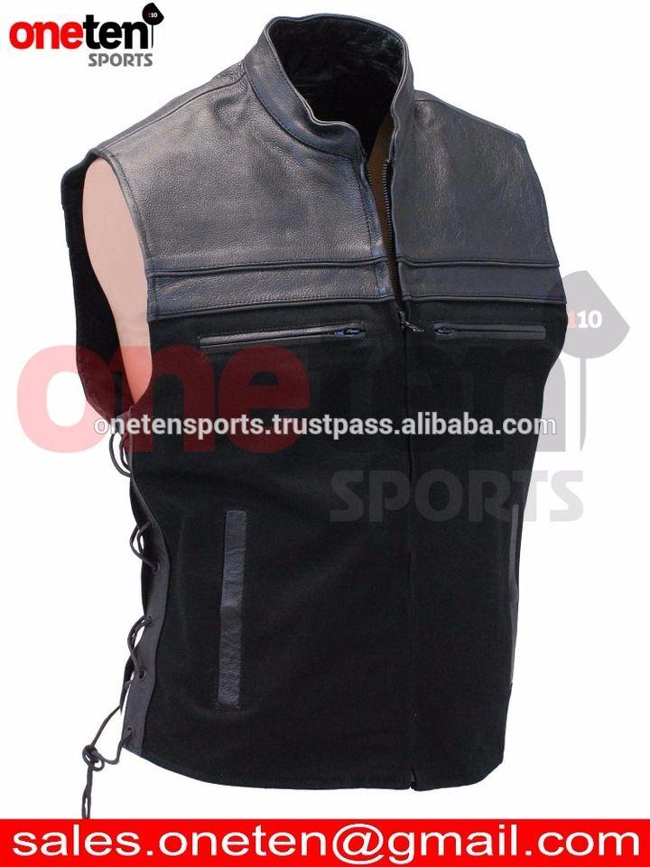 Leather Motorcycle Vest / Men's leather vest