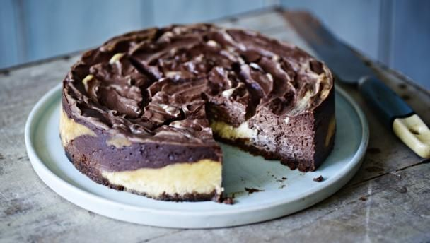 Add a swirl of cocoa to this classic baked American cheesecake from Mary Berry.