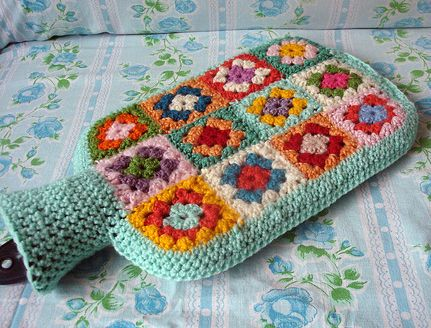 granny square hot water bottle ~ cuteness! #crochet