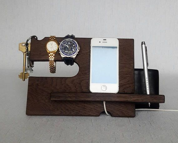 Oak NightStand Valet Wood Phone Organizer Father gift Gift for