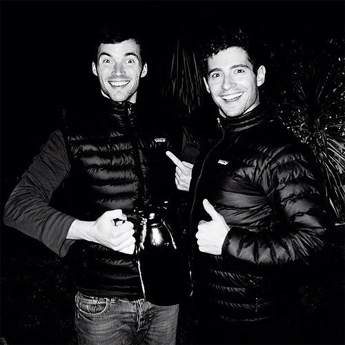 Ian Harding (Ezra) and Julian Morris (Wren) on the set of Pretty Little Liars. #PLL
