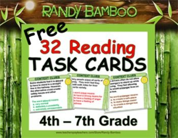 (Free) 32 Reading Task Cards - (Sample of my Context Clues, Inference, Theme, Prediction, Main Idea, Summarize, Figurative Language) in large print,ideal for the overhead projector as well as cut out for rings.