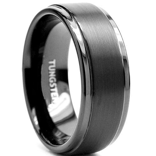 Tungsten Black Carbide Mens Brushed Stepped Edges Black Wedding Band Ring M37