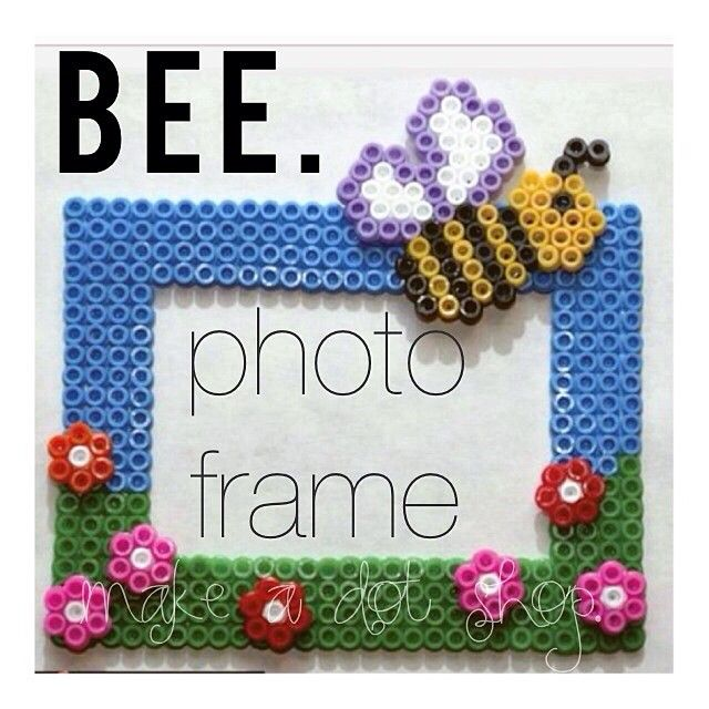 Bee photo frame perler beads. Could use this for the GS Law and give ...