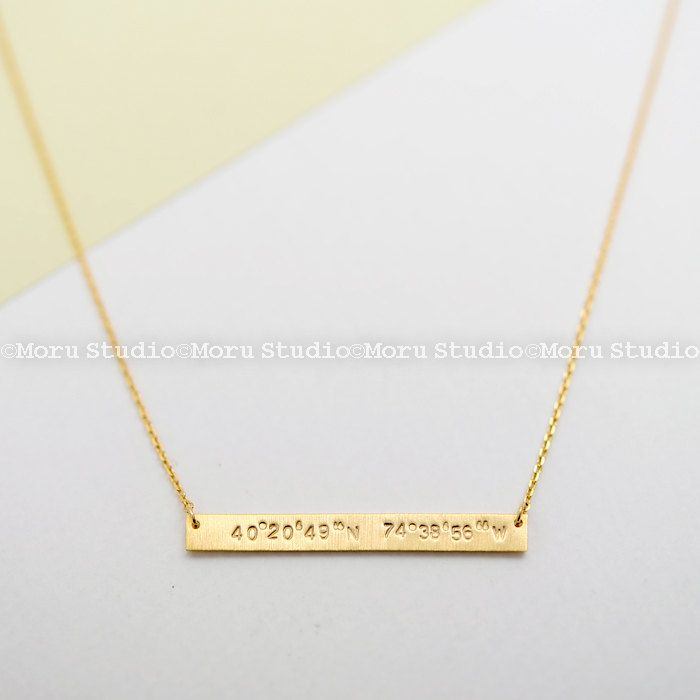 Personalized Coordinates Necklace/ Latitude Longitude Long Skinny Bar Necklace/ GPS Coordinates/ Hand Stamped Bar Necklace/ Custom/ NBR003 by MoruStudio on Etsy