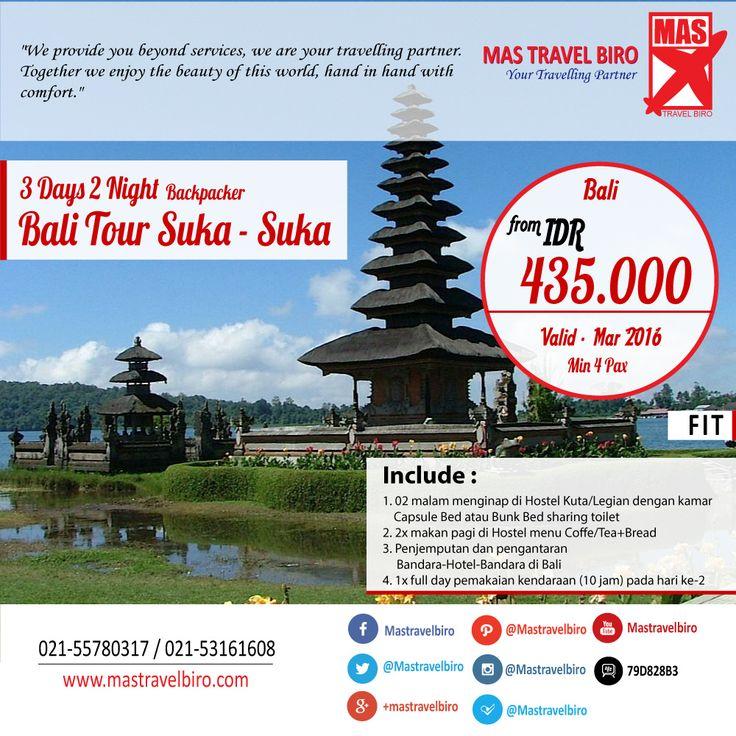our Ke Bali ala Backpacker Mulai Dari Rp 435.000/Orang , Yuk Pesan ! #bali   #tour   #promo   #backpacker