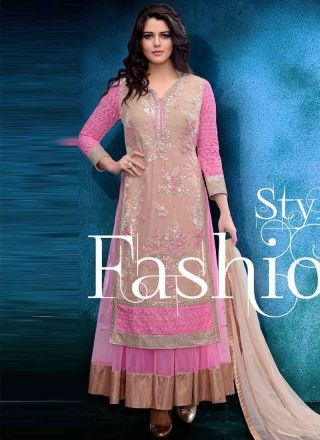 Beautiful Beige Pink Thread Work Net Evening Party Wear  Gown http://www.angelnx.com/gown#/sort=p.sort_order/order=ASC/limit=32/page=1