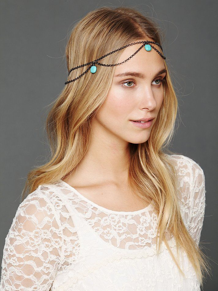 Gypsy Junkies Turquoise Bead Chain Halo  http://www.freepeople.com/whats-new/turquoise-bead-chain-halo/