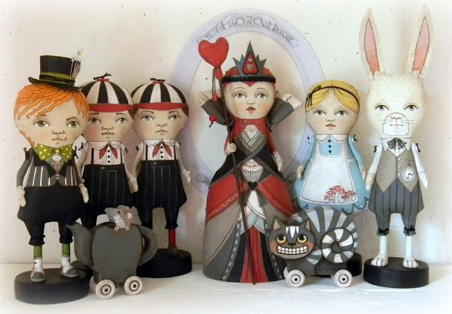"""Dolls of """"Alice in Wonderland""""  by the amazing doll artists of  Cart before the horse....  (would love to have them all!) :D"""