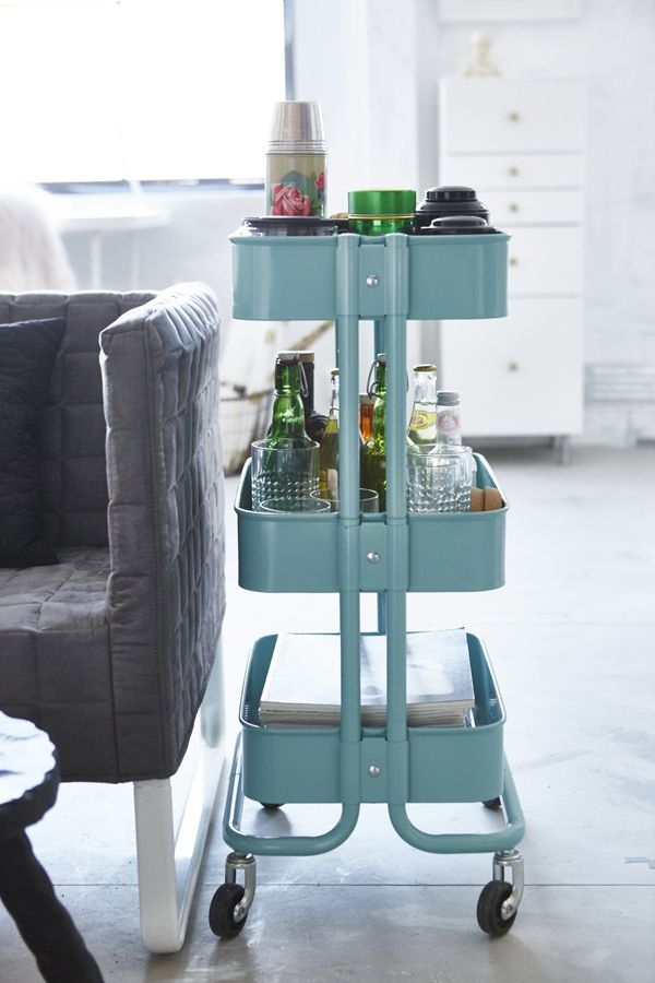 Create living room storage that fits into tight spaces with IKEA RÅSKOG utility…