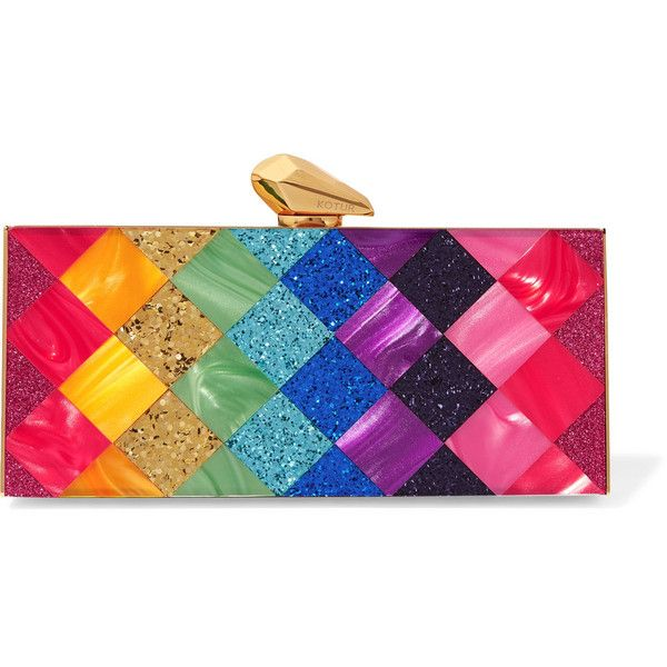 KoturLevin Glittered Perspex Box Clutch ($590) ❤ liked on Polyvore featuring bags, handbags, clutches, pink, vintage clutches, glitter handbag, clasp handbag, vintage handbags and hard clutch