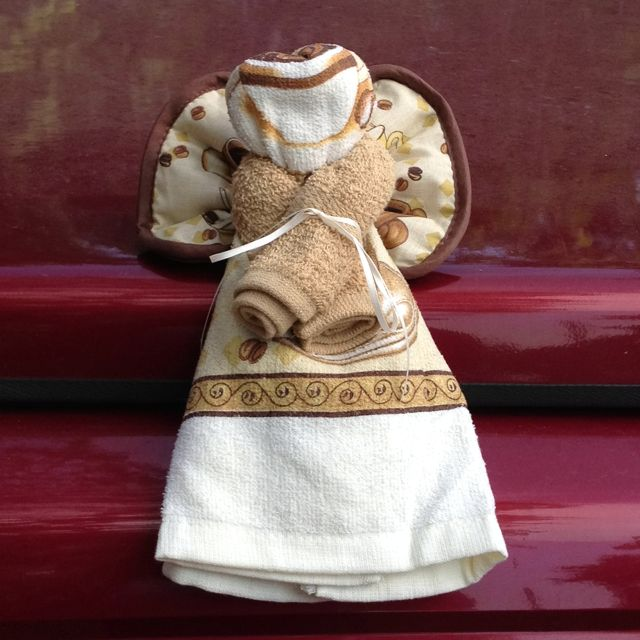Kitchen angel made with pot holder dish towel and wash