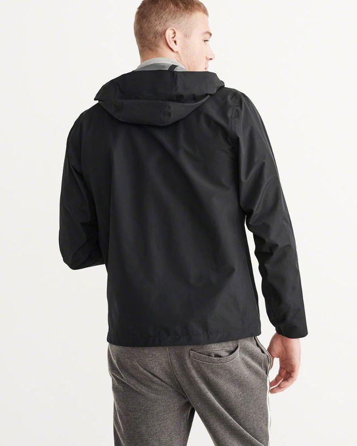A&F Men's Waterproof Rain Jacket in Black - Size XL