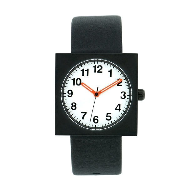Square Face Watch Black  Black and white face with orange hands. Black 100% genuine leather strap.   £29.00