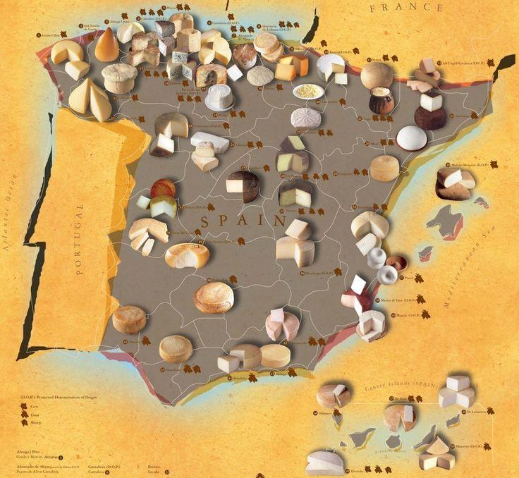 El mapa de los quesos españoles. 24 mapas locos que muestran España como nunca la habías visto
