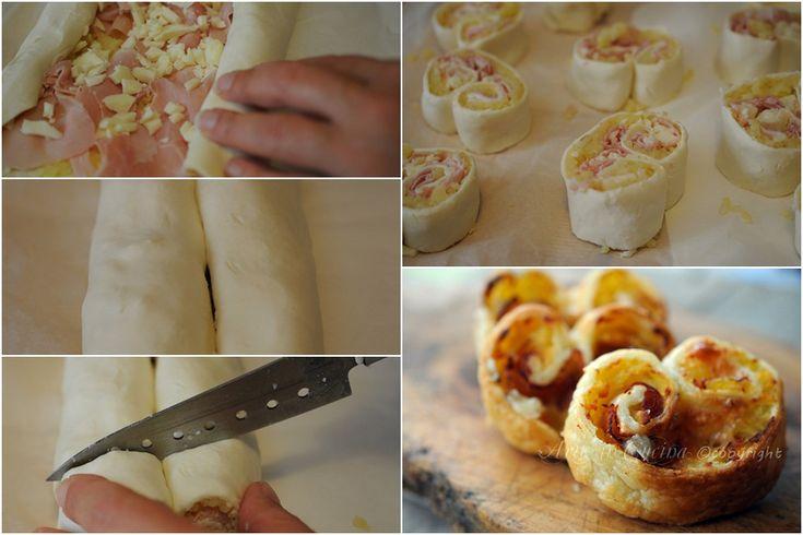 Ventaglietti salati ripieni con patate e prosciutto, ricetta facile, antipasto, stuzzichino, finger food, ideaa per feste e buffet,