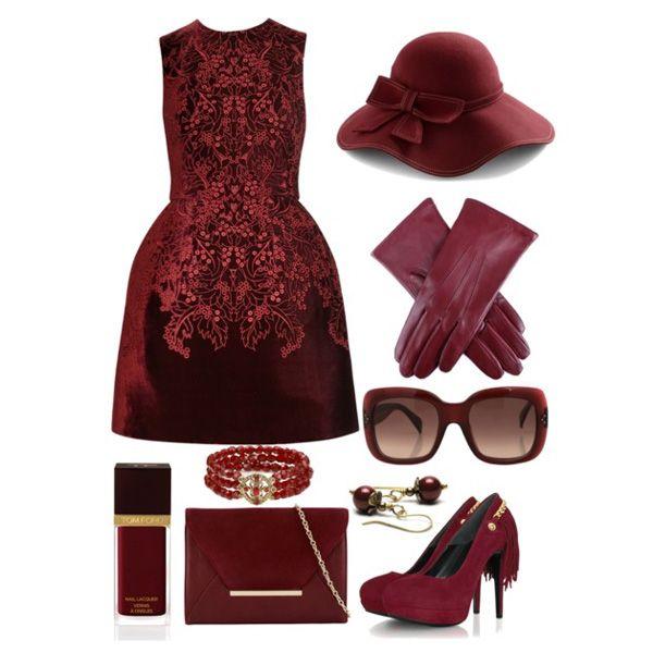 С чем носить бордовые туфли: бордовое кружевное платье