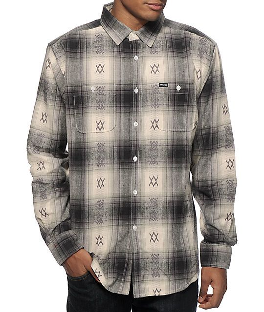 Look your best for any occasion with a natural, grey, green, and black plaid design with a grey jacquard knit tribal detailing throughout.