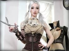 Kato in Steampunk Cosplay with Scissors