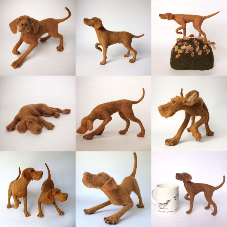 Needle felted Vizslas, dog sculptures.