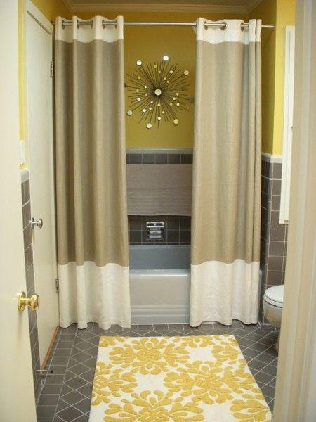 double shower curtain, gray yellow, waterproof art: Powder Room, Bath Room, Small Bathroom, Bathroom Ideas, Showercurtain, Shower Curtains, Home Bathroom