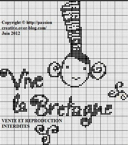 Bretagne - breizh - vive la Bretagne - point de croix - cross stitch - Blog : http://broderiemimie44.canalblog.com/