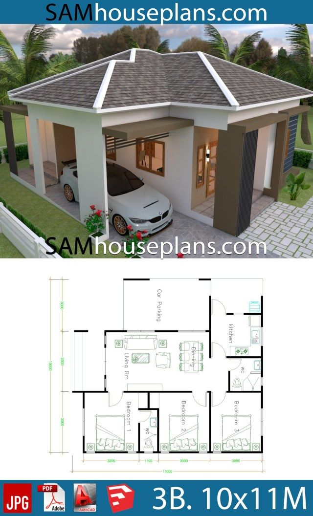 House Plans 10x11 With 3 Bedrooms Roof Tiles Sam House Plans Small House Design Exterior Small House Design Plans Little House Plans