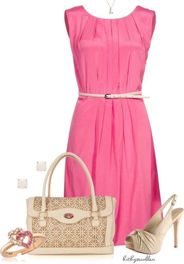 """""""Pink Summer Dress"""" by bitbyacullen ❤ liked on Polyvore"""
