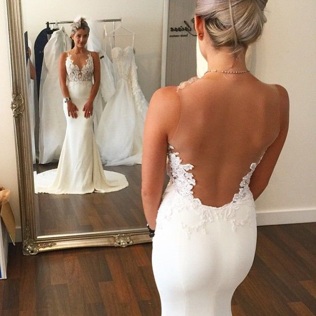 Love the illusion open back with scalloped lace on this wedding dress // Pinned by Dauphine Magazine x Castlefield - Curated by Castlefield Bridal & Branding Atelier and delivering the ultimate experience for the haute couture connoisseur! Visit www.dauphinemagazine.com, @dauphinemagazine on Instagram, and @dauphinemag on Pinterest • Visit Castlefield: www.castlefield.co and @ castlefieldco on Instagram / Luxury, fashion, weddings, bridal style, décor, travel, art, design, jewelry…