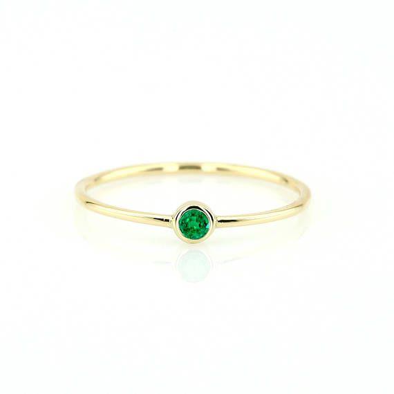 Emerald Ring/ 14k Gold Single Emerald 0.08ctw Engagement Ring/ Emerald Gemstone Ring/ Stacking Natural Emerald Ring