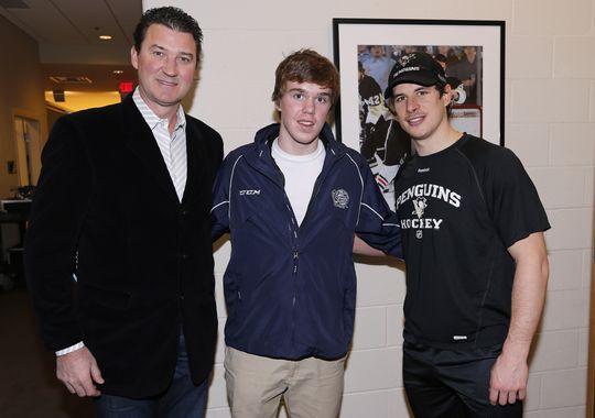 Mario Lemieux, Connor McDavid and Sidney Crosby
