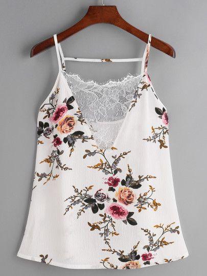 Floral Print Lace V-Neck Cami Top