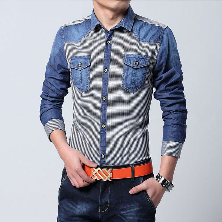 Classic Casual Jean Shirt For Men, Long Sleeve Denim Shirt Sizes M-2XL
