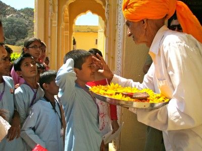 Traditional welcome at the Samode Palace, Samode, Rajasthan.