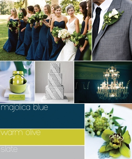 Blue green and gray wedding colors - super cute!