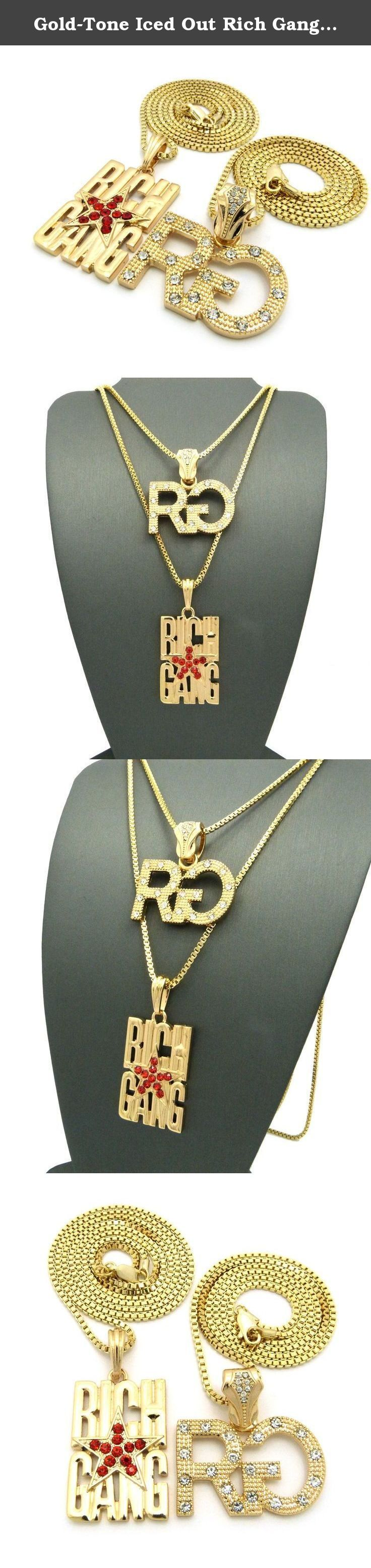 Gold-Tone Iced Out Rich Gang Star RG Pendant Box Chain Hip Hop 2 Necklace Set RC896G. Gold-Tone Iced Out Rich Gang Star RG Pendant Box Chain Hip Hop 2 Necklace Set.