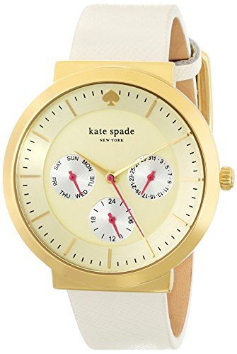 kate spade new york Womens 1YRU0512 Metro Grand Watch with White Leather Band >>> You can find out more details at the link of the image. - watches, silver, women, casio, cheap, g shock watch *ad