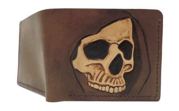 Tooled leather wallet hooded skull by AnaMariaGruiaART on Etsy
