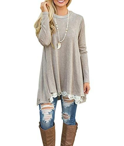 9cd7349e23a ... soft and comfortable material - Pull On closure - Casual Tunic Shirts: Long  Sleeve Scoop Neck Lace Long Tunic Shirts Loose Tunic Tops for Women,  Ladies, ...