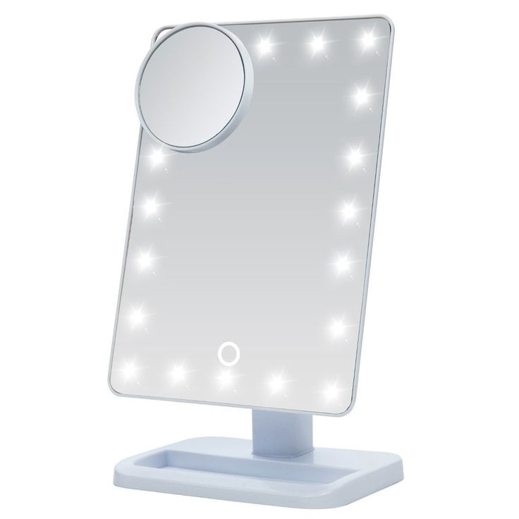 S·South Makeup Mirror with Light, Illuminated Cosemetic Beauty Mirror with 10x Magnifying, 20 LED Touch Screen Lighted Makeup Mirrors, Free Standing Make Up Mirror for Desktop Table Top