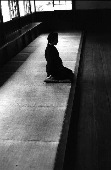 Zazen, zen meditation inside a temple  Kamakura  Japan by Rene Burri