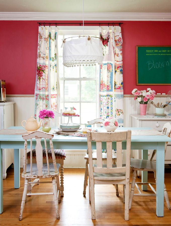 Love this look, especially the curtains made out of vintage hankerchiefs!