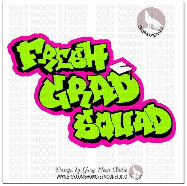 A The Fresh Grad Squad Graduation Neon Colors Fresh Etsy In 2020 Neon Colors Prince Party Theme Tee Shirt Print