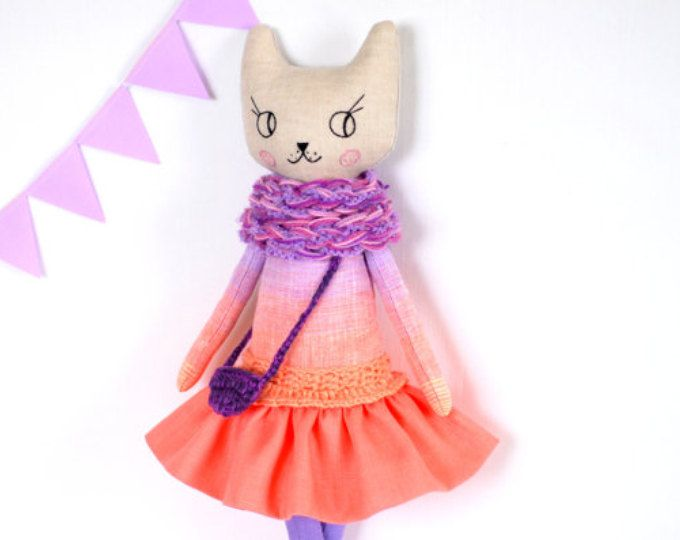 "Cat Doll 16"" , Cat Handmade Doll , Cats , Rag Dolls , Stuffed Cat , Modern Cat Doll , Cloth Doll , Fabric Doll , gift for girl"