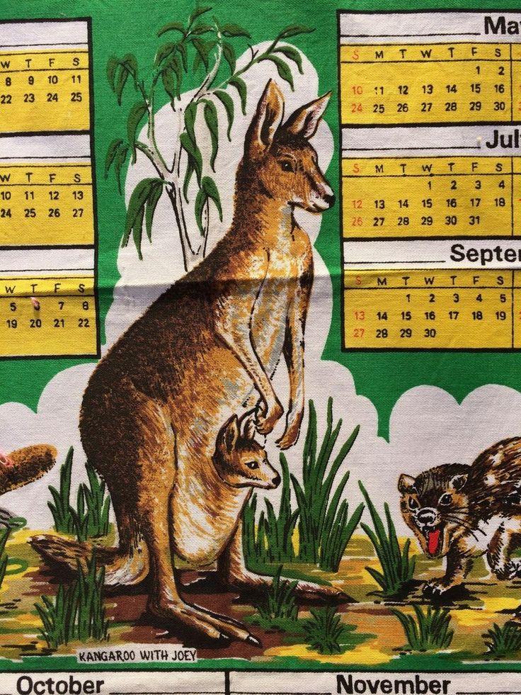 Vintage Tea Towel: Year 1981 Calendar  AUSTRALIA  - Animals  -   Pure Cotton