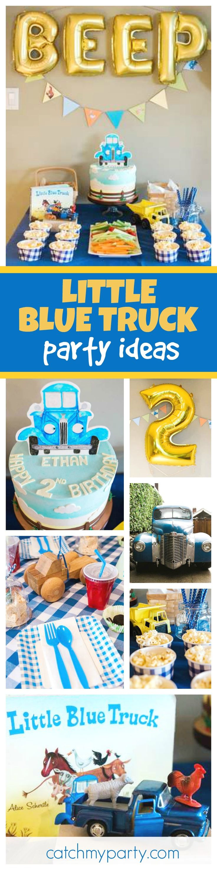 Don't miss this fantastic Little Blue Truck inspired birthday party! The birthday cake is so cute!! See more party ideas and share yours at CatchMyParty.com