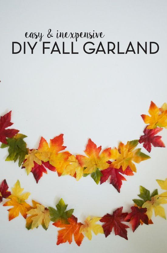 Easy & Inexpensive DIY Fall Garland. Made from dollar store leaves! Thanksgiving Decor | Fall Craft Idea